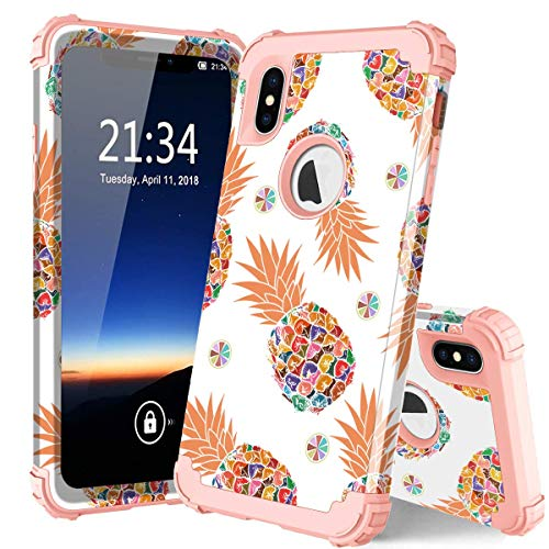 PIXIU for iPhone Xs Max case,3 in 1 Hybrid Hard PC Soft Rubber Heavy Duty Rugged Shockproof Protective Phone Cover for iPhone Xs Max 6.5 Inch 2018 Released Pineapple