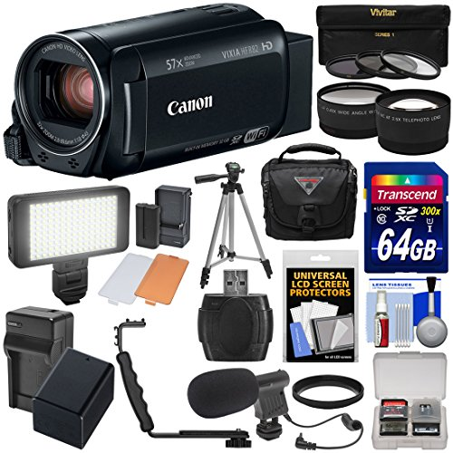 Canon Vixia HF R82 32GB Wi-Fi 1080p HD Video Camera Camcorder + 64GB Card + Battery & Charger + Case + Tripod + 3 Filters + LED + Mic + 2 Lens Kit -