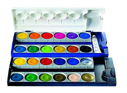 Pelikan Opaque Watercolor Paint Set, 24 Colors Plus Chinese White Tube (720862) (Opaque Watercolor)