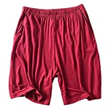HIENAJ Men's Solid Modal Sleepwear Shorts Basic Thin Pajama Loose Lounge Beach Wear