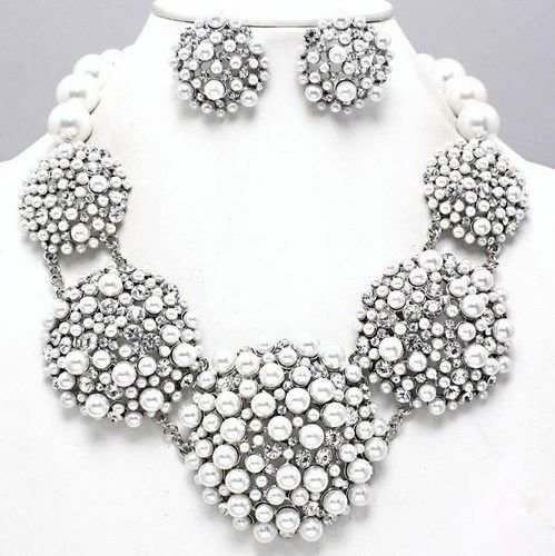 White Pearl Statement Necklace Set Elegant Fashion Jewelry Boxed (#156) (silver-plated-base) by Shoppe23 (Image #2)