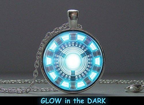 Glowing Pendant Iron Man, Pendant Glow in the Dark, Glowing Jewelry, Glowing Necklace, Glowing (Iron Man Glow Arc Reactor)