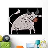Wallmonkeys Bull Cartoon Icon Wall Decal Peel and Stick Graphic WM330751 (48 in H x 48 in W)