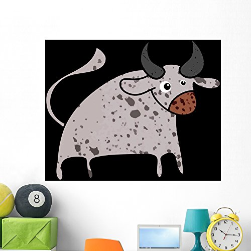 Bull Cartoon Icon Wall Mural by Wallmonkeys Peel and Stick Graphic (48 in H x 48 in W) WM330751