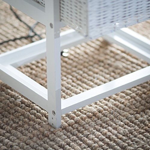 Wood Wicker Ironing Board Center With 3 Foldable Baskets