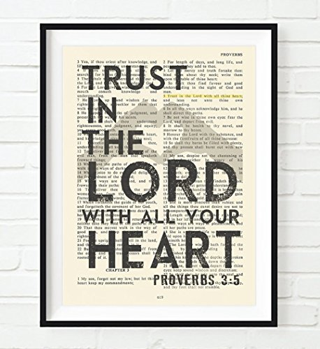 (Trust in the Lord with All Your Heart, Proverbs 3:5, Art Print, Unframed, Vintage Bible Page Verse Scripture Wall and Home Decor Poster Gift, 8x10)
