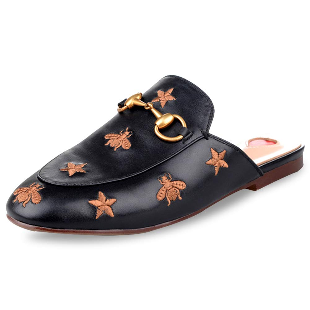 2cbbf808c90e7 GEEDIAR Leather Mules Women Shoes Mules Flats Shoes and Slides ...