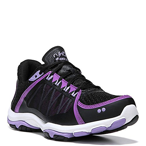 Ryka Women's influence2.5 Cross-Trainer Shoe, Black/Purple, 9.5 M US