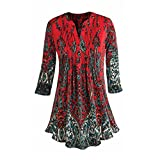 Women's Pleated Paisley Tunic Top - 3/4 Sleeve Printed Blouse with Mandarin Collar - Red - 2X