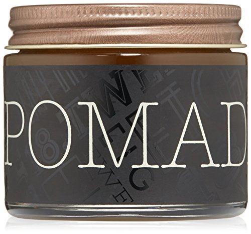 18.21 Man Made Hair Pomade for Men with High Shine Finish, Sweet Tobacco, 2 oz - Premium Non-Greasy Hair Pomades for Straight, Curly, Wavy Hair Styles - Strong, Long-Lasting Male Hair Styling Products (Best Pomade For Wavy Hair)