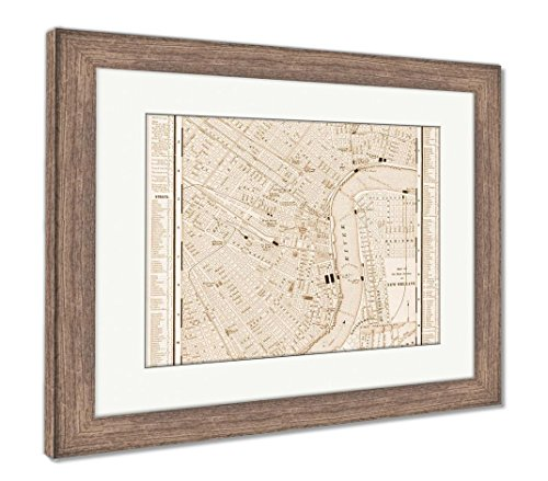 Ashley Framed Prints Detailed Antique Street Map New Orleans Louisiana, Wall Art Home Decoration, Sepia, 26x30 (Frame Size), Rustic Barn Wood Frame, AG5625187