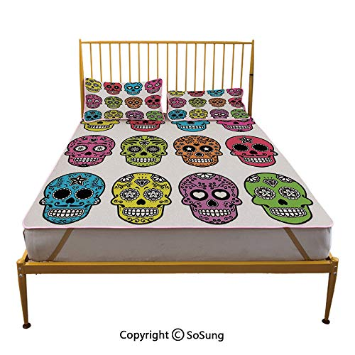 Skull Creative Queen Size Summer Cool Mat,Ornate Colorful Traditional Mexian Halloween Skull Icons Dead Humor Folk Art Print Sleeping & Play Cool Mat,Multi -
