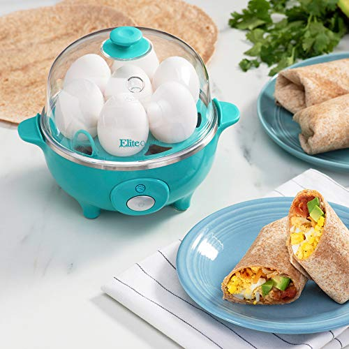 Elite Cuisine EGC-007T Easy Electric Egg Poacher, Omelet & Soft, Medium, Hard-Boiled Egg Cooker with Auto-Shut off and Buzzer, 7 Egg Capacity, Teal