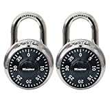 Master Lock 1500T Dial Combination Padlock, 2-Pack, Black