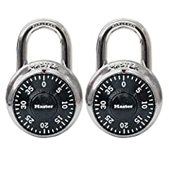 The Master Lock 1500T Standard Dial Combination Padlocks feature a 1-7/8in (48mm) wide metal body for durability, with a stainless steel cover. The 9/32in (7mm) diameter shackle is 3/4in (19mm) long and made of hardened steel, offering extra ...