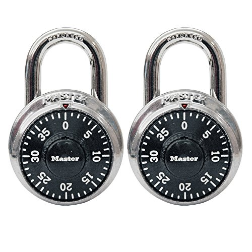 Master Lock 1500T Dial Combination Padlock, 2 Pack, Black