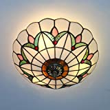 Skyweel 12 Inch Vintage Chandeliers Light Tiffany Style Ceiling Light Stained Glass Flush Mount Ceiling Lighting Fixtures Lamps