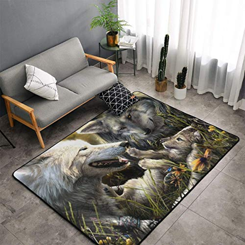 Karen Felix Non-Slip Area Rugs Door Mats - Warm Wolves Family Floor Mat Living Room Bedroom Carpets Doormats Home Decor 60 X 39 in -