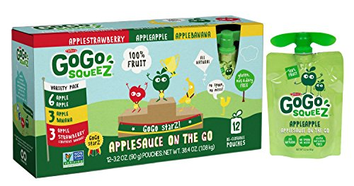 GoGo squeeZ Applesauce on the Go, Variety Pack (Apple Apple/Apple Banana/Apple Strawberry), 3.2 Ounce Portable BPA-Free Pouches, Gluten-Free, 12 Total Pouches