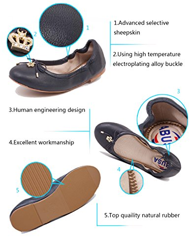 ABUSA Womens Leather/Suede Ballet Flat Foldable Pointed Toe Shoes Flats-suede Blue 4aIPSPPY