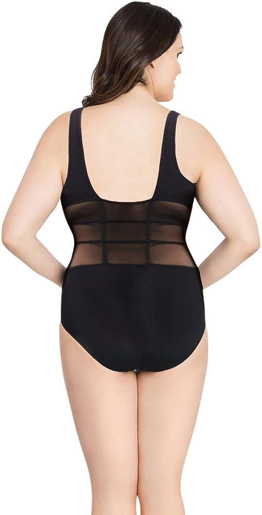 Profile by Gottex Grand Prix Black Plus Size V-Neck Mesh Inset One Piece Swimsuit Size 22W