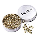 Tupalizy 1/4 Inch Small Round Map Tacks Plastic Fabric Marking Push Pins World Travel Map Thumbtacks for Home Office Bulletin Cork Board Use and DIY Craft Project, 100PCS (Gold)