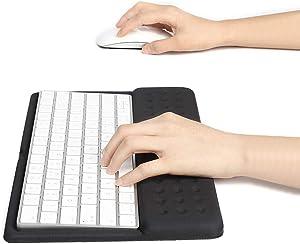 Buwico 2 in 1 Silicone Keyboard Wrist Rest Pad Wrist Support Keyboard Mat Wrist Rest Mouse Pad for Apple Magic Keyboard 2 (Black)