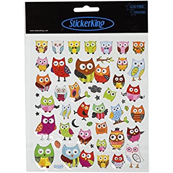 Multi colored stickers wide eyed owls