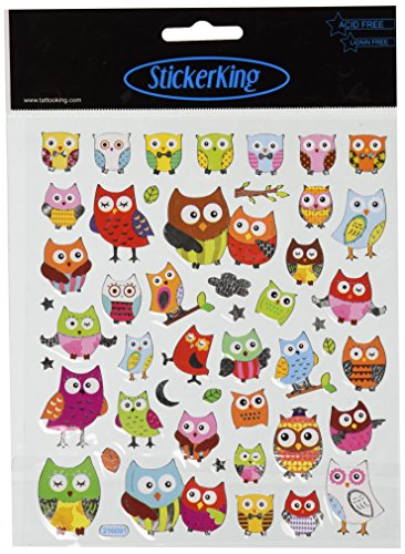 Tattoo King Multi-Colored Stickers-Wide Eyed Owls