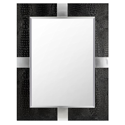 Impressive Animal Skin Patterned Faux Leather Mirror, Black by Benzara