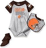 NFL Infant Blitz Onesie, Bib and Bootie Set-Heather Grey-24 Months, Cleveland Browns