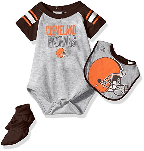 OuterStuff NFL Infant Blitz Onesie, Bib and Bootie Set-Heather Grey-12 Months, Cleveland (Cleveland Browns Football Baby Onesie)