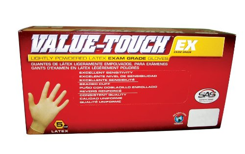 SAS Safety 6503 Value-Touch Exam Grade Disposable Latex 5 Mil Gloves, Large by SAS Safety