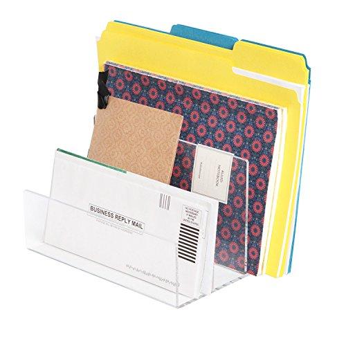 Sorter Letter (JackCubeDesign Acrylic Standing Vertical Quadruple File Folder Organizer/Facility Quadruple Letter Holder/Organizer/Sorter/Divider (Clear Crystal Transparent Color) – :MK421B)