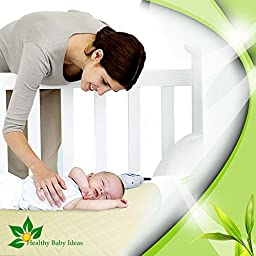 Healthy Baby Ideas Bamboo Waterproof Quilted Viscose Crib Mattress Pad,  Light Yellow