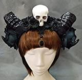 Gothic Lolita Sheep Ears Horn with Flowers Veil KC Headband Halloween Skull Hair Accessories Party (Silver)