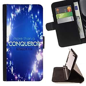 BullDog Case - FOR/Sony Xperia Z1 Compact D5503 / - / ROMANS 8:37 MORE THAN A CONQUEROR /- Monedero de cuero de la PU Llevar cubierta de la caja con el ID Credit Card Slots Flip funda de cuer