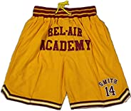 Bel Air Academy #14 Smith Basketball Jersey Shorts Sport Pants Yellow for Men Mesh