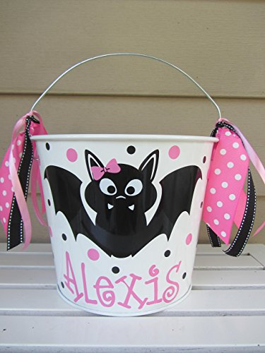 Personalized 5 quart Halloween pail- bat design -