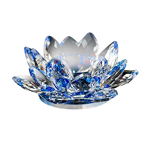 - SamMoSon Candle Holders Decorative, 7 Colors Crystal Glass Lotus Flower Candle Tea Light Holder Buddhist Candlestick Blue