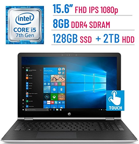 2018 HP 15.6-inch Touchscreen (1920x1080) IPS 2-in-1 Convertible Laptop PC, Intel Core i5-7200U, 8GB DDR4 SDRAM, 128GB SSD + 2TB HDD, Bluetooth, AMD Radeon 530, HDMI, B&O PLAY, Stylus, Windows (Amd Laptop Graphics Cards)
