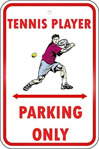 (Voicpobo Tennis Player Parking Only Sign Metal Funny Warning Signs for House Decor 8x12 Inches)