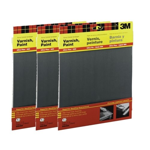 600 Wet-Or-Dry Sandpaper 5 Sheets per pack 3 Pack