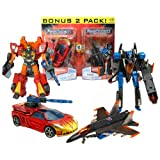 Hasbro Year 2007 Transformers Universe Series 2 Pack Deluxe Class 6 Inch Tall Robot Action Figure Set - OPPOSITE ATTACK - Autobot EXCELLION with Dragster Wing and Grenade Rifle (Vehicle Mode: Race Car) and Decepticon THUNDERCRACKER with Firing Drone Rocke
