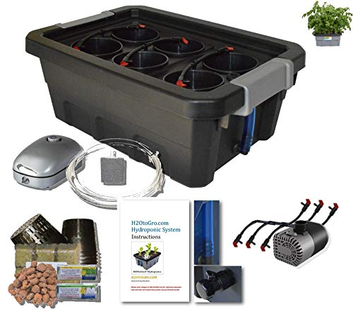 ❥ H2OtoGro 04063.75TF DWC Self Watering Hydroponic System No. 04St, 6 Site, 18x13-Inch, Black Hydroponic System 22