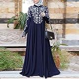 iYYVV Women Muslim Kaftan Arab Jilbab Abaya Islamic Print Lace Stitching Maxi Dress Blue