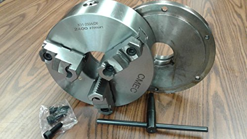 10'' 3-JAW SELF-CENTERING LATHE CHUCK top&bottom jaws w. L0 back adapter plate by CME