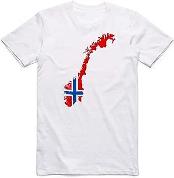 تيشيرت مطبوع علم النرويج ، للرجال - ابيض