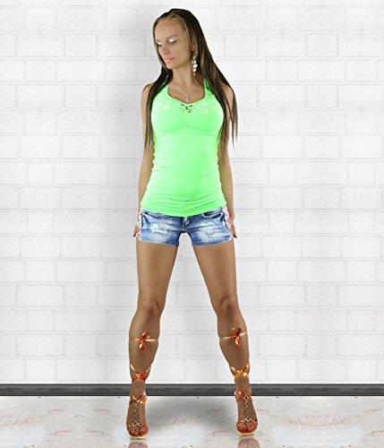 Jiahaodi - Camiseta sin mangas - Chaleco - Cuello redondo - para mujer Verde