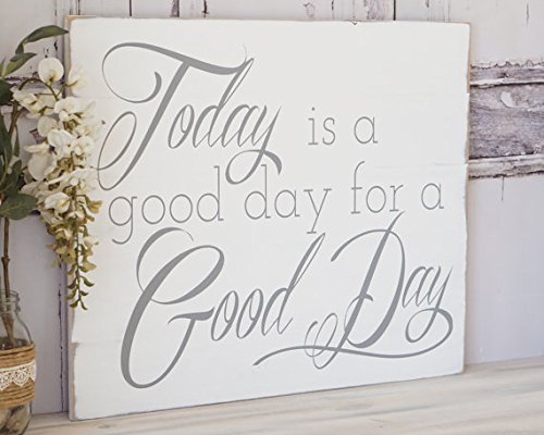 Today is a Good Day for a Good Day Distressed Shabby Chic Hand Made Adventure Sign Inspiration Vintage Farmhouse Chic Country Fixer Upper 12x16 Wood Plaque